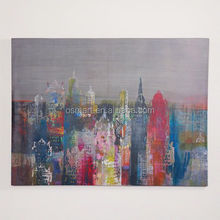hand painted pictures on canvas modern group oil painting bright color city buildings modern art styles oil paintings for decor