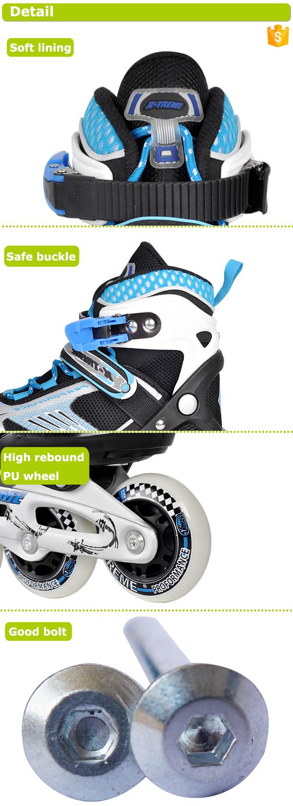 Atacado ajustável alta rebote roda de pu azul crianças patins