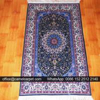 american handmade persian silk navy carpets