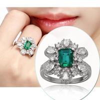Solid 18 Karat White Gold Natural 1.4ct Emerald Pave Diamond Engagement Ring