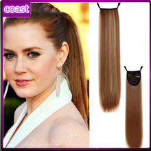 stars straight brown synthetic hair band ponytail
