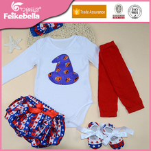 Halloween desgaste do bebê menina manga longa de algodão macacão + short + tênis + polainas + Headband 5 pçs/set roupas da moda infantil