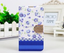 Blue Flowers White Leather Diamond Flip Wallet Case For iPhone 6 4.7""