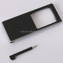 Stainless Metal Framed 3x LED UV light Magnifying Glass with a ball pen