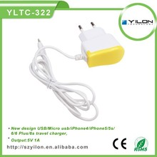 5V 1A real power new mobile charger with micro/USB/for iphone cable