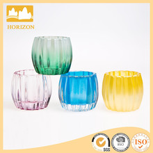 Colorful glass candle holders for home decoration