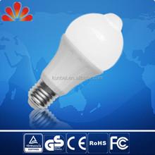 Epistar chip plastic bulb with sensor , 6W E27 led bulb sensor controlled , Auto on&off bulb with TUV GS