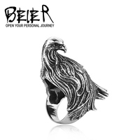 (US Size 7-13) Wholesale Stainless Steel Huge Animal Peacock Ring For Man Woman Unique Personality Jewelry BR8-089