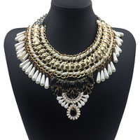 New arrival 2015 Fashion Statement vintage choker bib big brand peal necklaces pendants elegant chain tassel collar necklaces