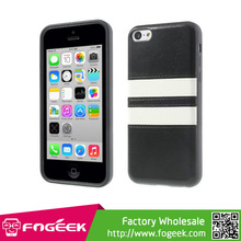 Fashion Crazy Horse Texture Leather Coated TPU Case for iPhone 5c