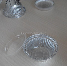 round Aluminium Food containers with Clear Dome Lid