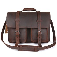 Kattee's Multi-purpose Adjustable Top Quality Genuine Cow Leather Business Men's Messenger Bag #XZ340