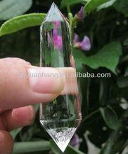Transparente Natural transparente cristal de cuarzo 13 lados doble terminado cristales, Poliedro claramente cristal de cuarzo puntos