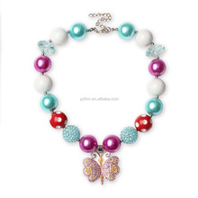 DAL16378 Princess Butterfly Chunky Bubblegum Necklace Kids Toddler Infant Necklace