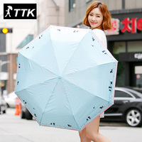 TTK lover cat fully automatic folding open to open the silver plastic anti UV umbrella automatic umbrella woman Garden umbrella
