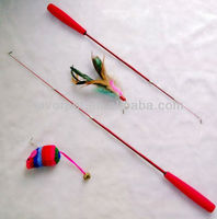 retractable fish pole with funny feather toy cat teaser cat dangler