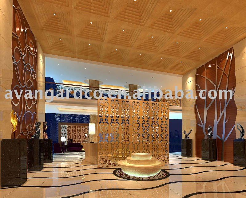 Hall hotel di design, 3d interior design e la cooperazione sui progetti