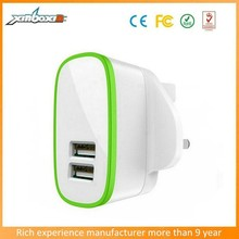 3 Pin Plug Dual USB UK Charger, 2.1A 2-Port USB UK home/wall charger For iPad For iPhone For Samsung With CE/FCC/RoHS