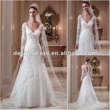 FairOnly New Custom Made Sexy Deep V Neck Lace Beading And Appliques Long sleeve Wedding Dress