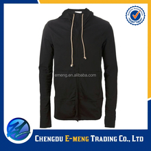 Mens plain zipper up french terry slim fit hoodies with two pockets
