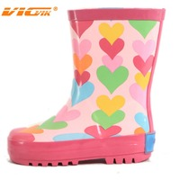 kids fashion rain boots with lovely heart printing