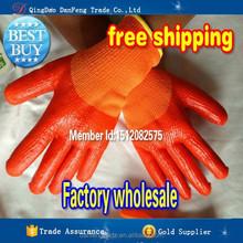 DANFENG PMQ901 Orange Latex working glove latex coated cut resistant top glove latex gloves industrial