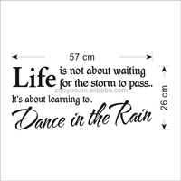 ZOOYOO LIFE means dance in the rain wall decorations life meaning wallpapers black quotation room decors (8212)