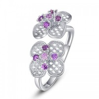 alibaba wholesale amethyst double flower 925 sterling silver ring