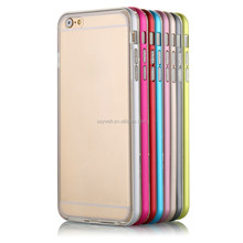 light TPU phone case with simple metal frame for Iphone 6