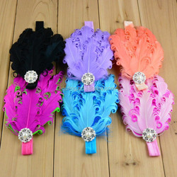 fancy baby christmas hair flower headband !Hot sales elastic feather Headband !Fashion kids' elastic headbands on stock