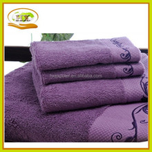 plush 100% cotton dobby border/band bath towel wholesaler