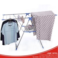 Indoor and outdoor folding adjustable stainless steel clothing drying rack with wings
