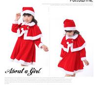 Boutique Children Girls Red Fleece Winter Christmas Clothing Sets Dress+Hat+Cape 3 pcs Sets