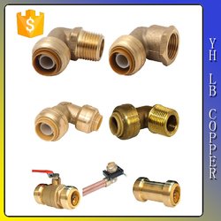"""LinBo LBC182 1/2"""" 3/4"""" 1inch Thread Pipe Elbow Fittings Female x Male Cast Iron Brass"""