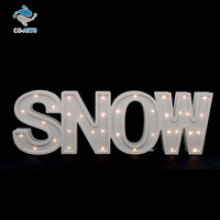 Beautiful design outdoor decoration cheap wooden snow letters lighting