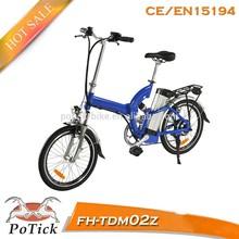 2015 venta caliente plegable 250w e- bicicleta con en15194