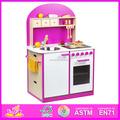 2015 nueva barato de cocina de madera para los niños, Preescolar juego de cocina de juguete para niños de los niños, Confort moderno juego de cocina de juguete para bebé W10C065