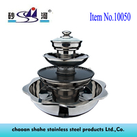 Stainless Steel 4 Tier Pagoda Hot Pot with Grill