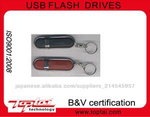 レザーと昇進ビジネスギフトのための金属usbのフラッシュドライブ2.0
