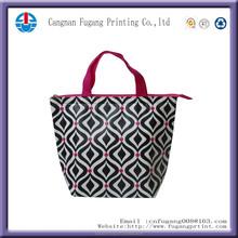 2015 new fashion neoprene cooler bag with zipper. hot sale zipper tote bag. nice printing zipper shopping bag