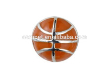 10mm Red Enamel Baseketball Slide Charms without Rhinestones