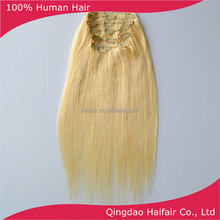 Human hair light color 613 cheap price 14 inch clip in hair extensions straight style 6 pcs per set