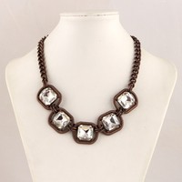 fashion costume jewelry copper plating chain square white crystal choker necklace