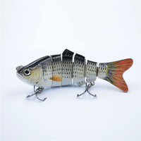 New Arrival 102mm/17g Lifelike 6 Jointed Sections Swimbait Fishing Lure Crankbait Hard Bait Fish Treble Hook Fishing Tackle