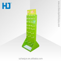 Cardboard Hanging Bags Display , Paper Display Stand With Hooks