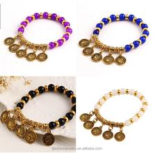 New Arrival Bohemian Coin Design Beads Bracelets Elastic Natual Stone Rope cheap Friendship Bracelets For sale