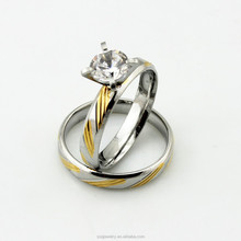 SSR420110 Trendy Crystal Stainless Steel Elegant Pair Rings for Lovers Two Tone Jewelry