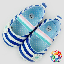 2015 Wholesale Baby Girls Shoes Royal Blue & White Beautiful Baby Girl Shoes With Flower