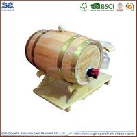 Shuanglong 5l pine wood or oak wood red wine barrel with liner