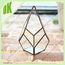<Dikina< newest developed Glass glass terrarium plant holder / Wholesale long stem mouth blown hanging clear glass candle holder